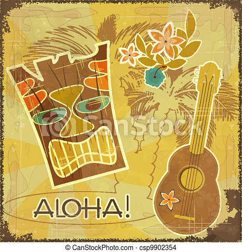 EPS Vector of Retro Hawaiian postcard - invitation to ...