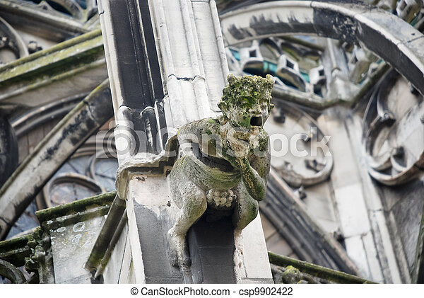 Gothic cathedral wall with gargoyle - csp9902422