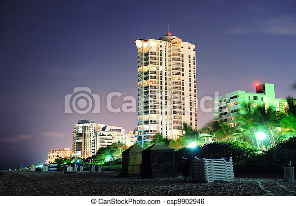 Miami south beach at night - csp9902946