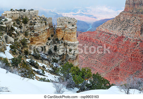 Grand Canyon panorama view in winter with snow - csp9903163