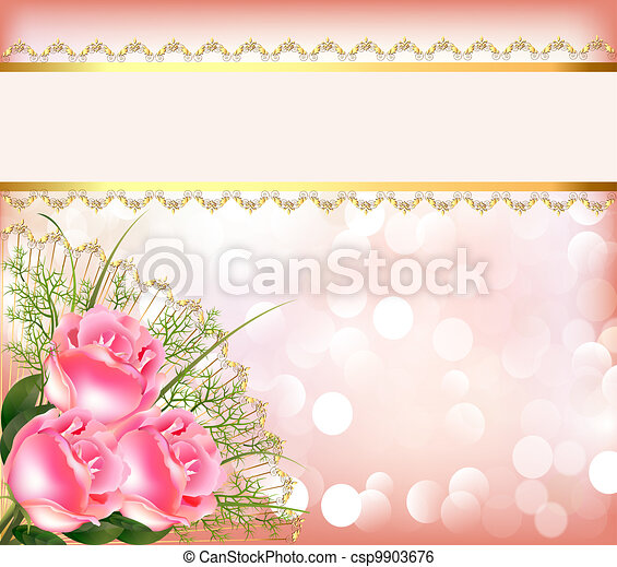 festive background with bouquet of the roses, tape with lace - csp9903676