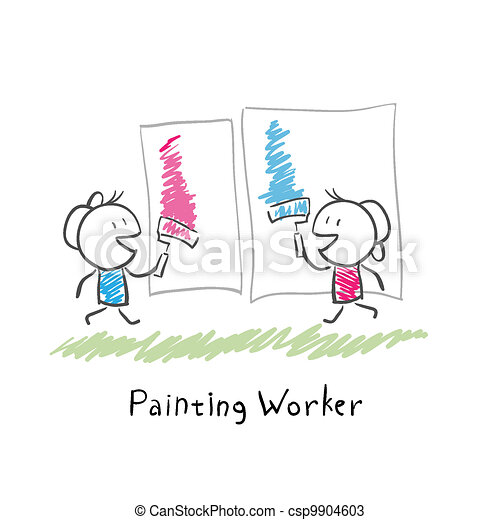 Two people paint rollers. Illustration. - csp9904603