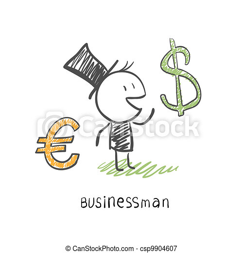 Businessman chooses between two currencies, the Euro and Dolar. Business illustration - csp9904607