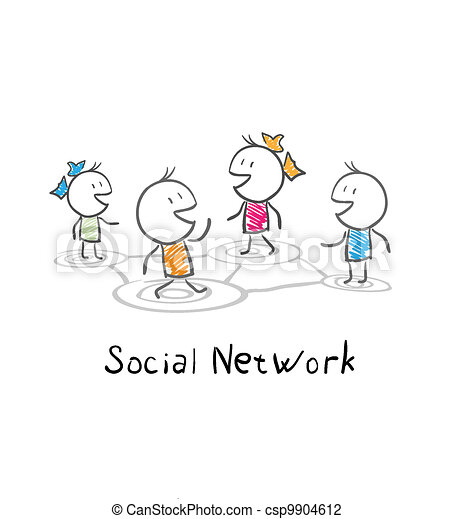 Community people. Conceptual illustration of the social network - csp9904612
