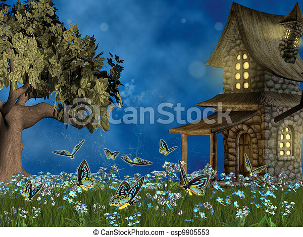 fairy tale lawn with forget-me- not flowers - csp9905553