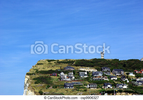 Habitations on a cliff in Fecamp - csp9906327