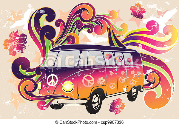 Retro van - flower power - csp9907336