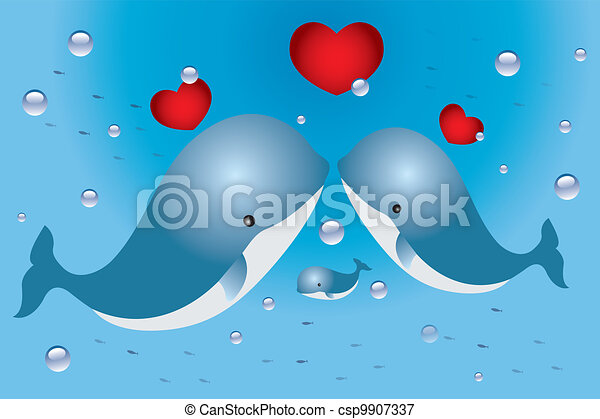 Lovely card with family of whales and hearts - csp9907337