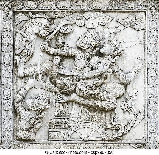 masterpiece of traditional Thai style stucco  - csp9907350