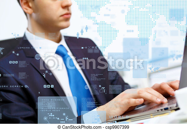 Business person working on computer - csp9907399