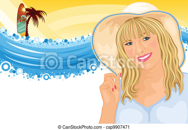 Surfing vacation with beautiful girl - csp9907471