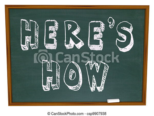 Here's How Advice Instructions Words on Chalkboard - csp9907938