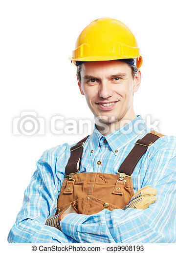 Happy worker portrait in hardhat and overall - csp9908193