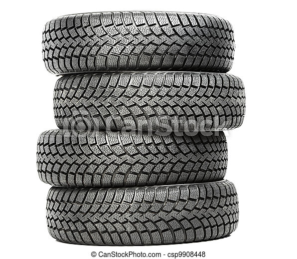 Stack of four car wheel winter tires isolated - csp9908448