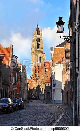 St. Salvador Church Tower, Bruges, Belgium - csp9909602