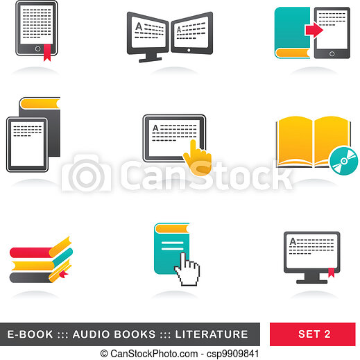 collection of E-book, audiobook and literature icons - 2 - csp9909841