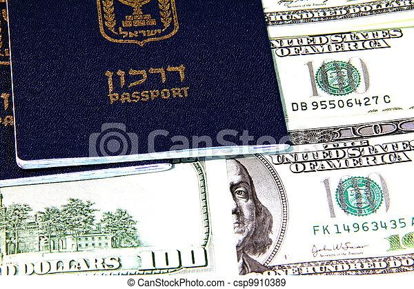 Israeli passports and paper money - csp9910389