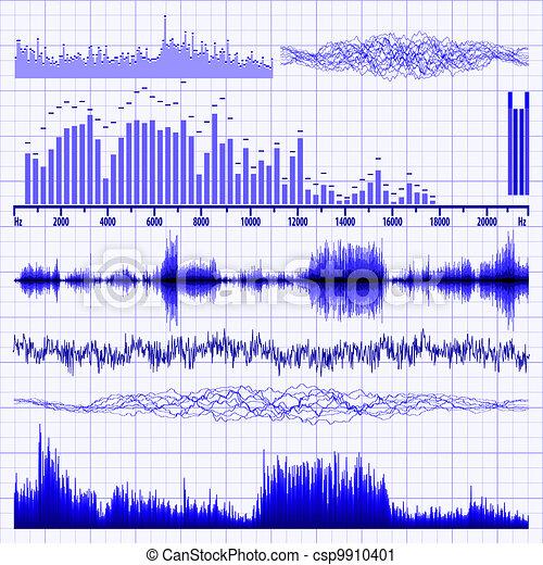 Sound waves set. Music background. EPS 8 - csp9910401