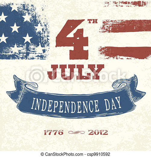 Vintage styled card for Fourth July Celebration. Vector, EPS10 - csp9910592