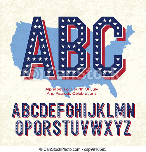 Alphabet For Fourth Of July And Patriotic Celebrations. Vector, EPS10 - csp9910595