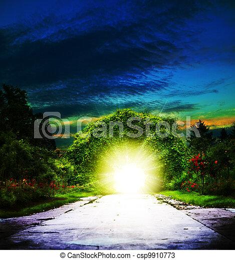 Portal to Eden. Abstract spiritual backgrounds - csp9910773