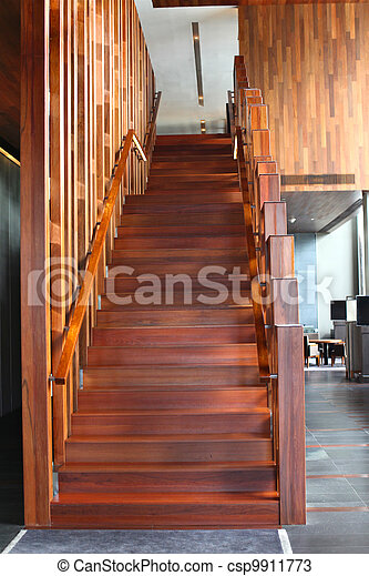 wooden stair in building - csp9911773