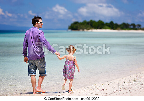 Father and daughter at beach - csp9912032