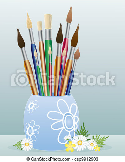 pot of paintbrushes - csp9912903