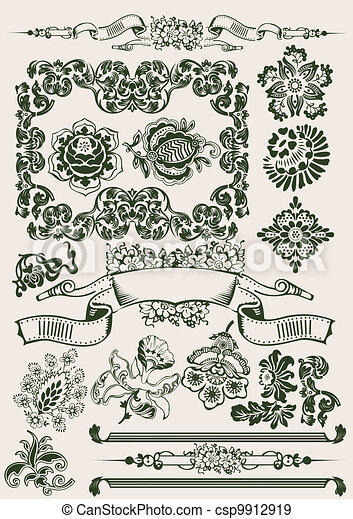One Color Flowers Vintage Clipart - csp9912919