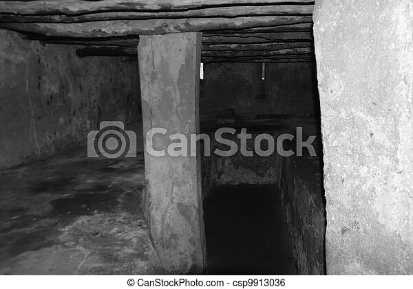 Ancient slave shelter in black and white - csp9913036