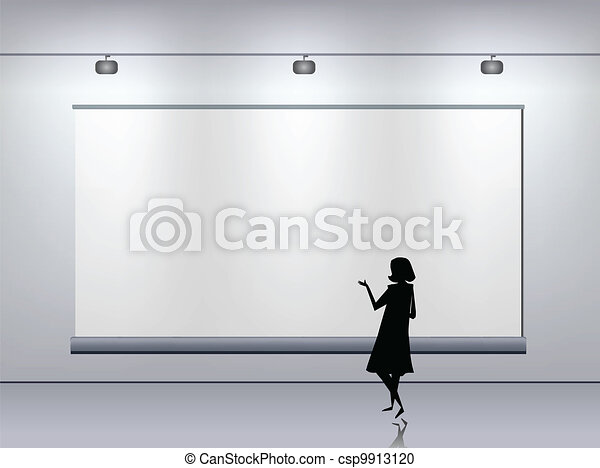 Presentation advertising board. Vector - csp9913120