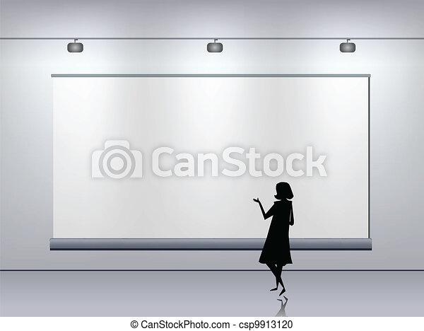 Presentation advertising board. Vector - csp9913120