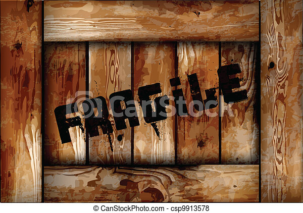 Fragile wooden box background. Vector - csp9913578