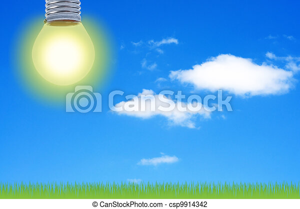 Electric light shines in sky with clouds. - csp9914342