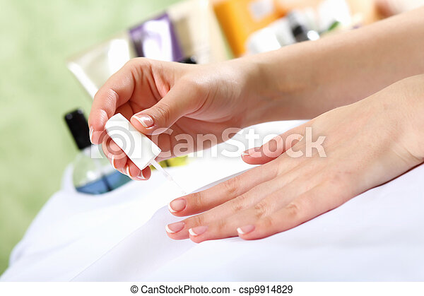 Female hands and manicure related objects - csp9914829