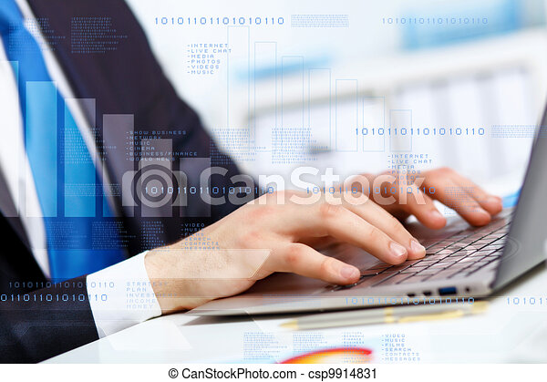 Business person working on computer - csp9914831