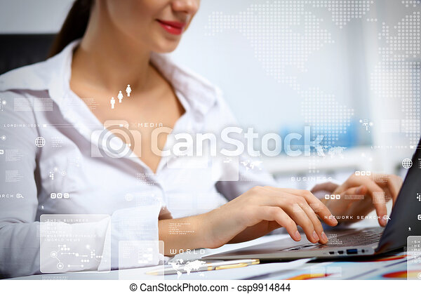 Business person working on computer - csp9914844