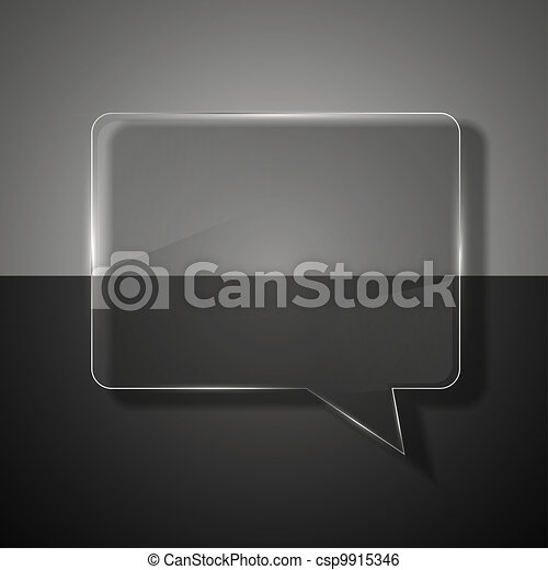 glass bubble speech on colorful background. - csp9915346