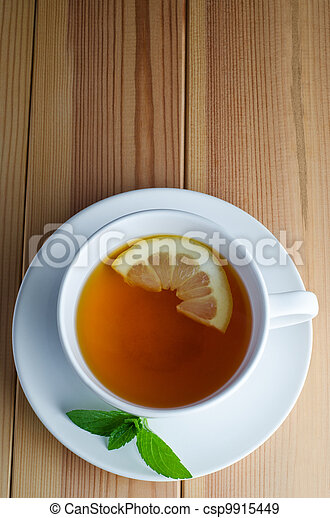Lemon Tea with Mint Leaves - csp9915449