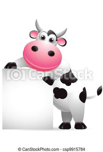 cute cow cartoon with blank sign - csp9915784
