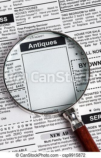 försäljning, antikviteter, annons - csp9915872
