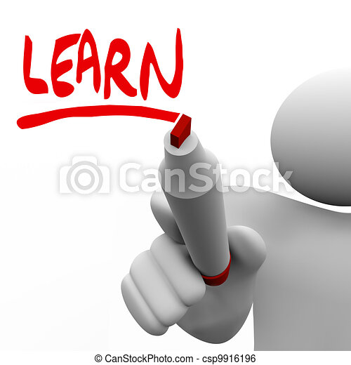 Learn Word Written Man With Marker Teaching - csp9916196
