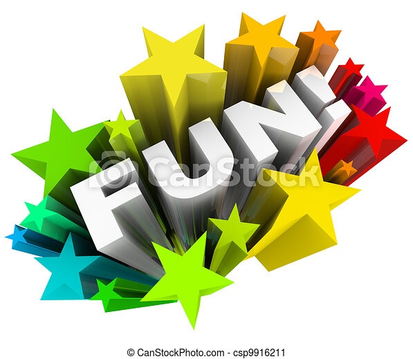 Fun Word Stars Starburst Entertainment Amusement - csp9916211