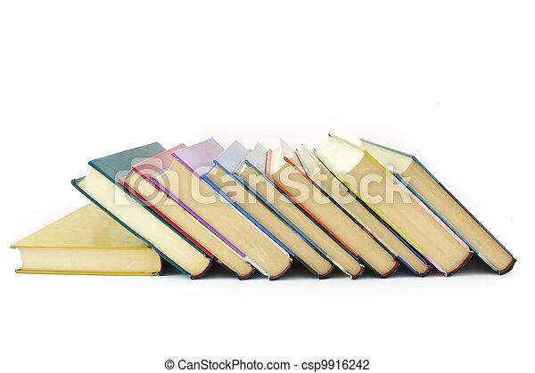 pile of color books - csp9916242