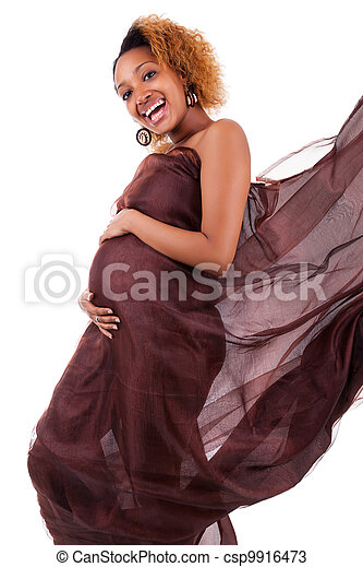 Young beautiful pregnant african woman - csp9916473