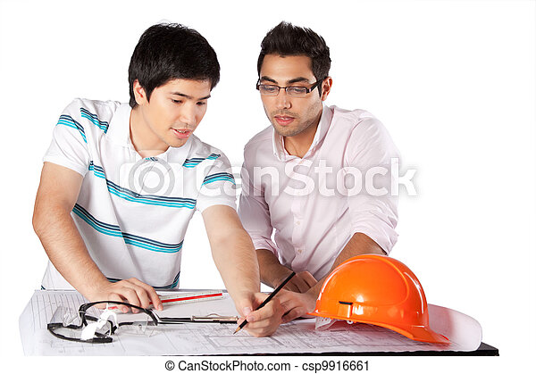 Two Architects Discussing on Blueprints - csp9916661