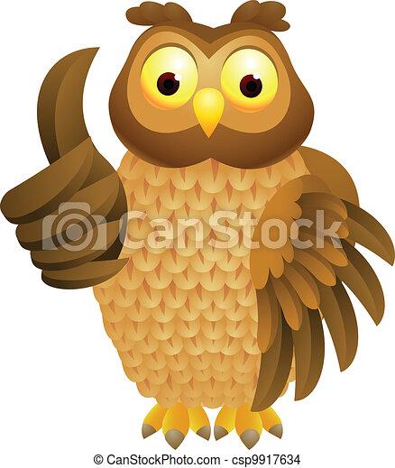 Owl cartoon with thumb up - csp9917634