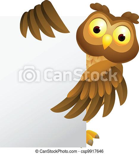 Owl cartoon with blank sign - csp9917646