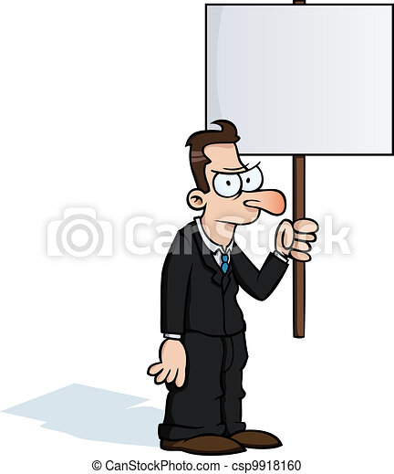 Angry business man with protest sign - csp9918160