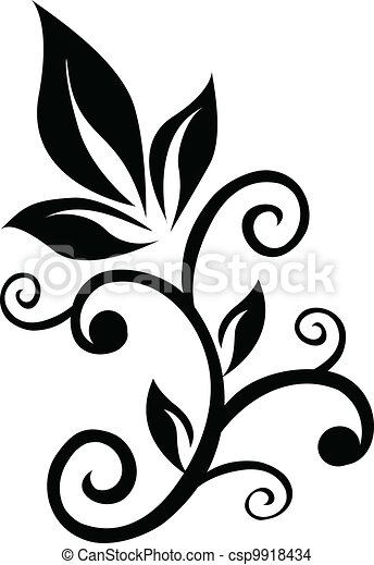 Floral swirl ornament element - csp9918434